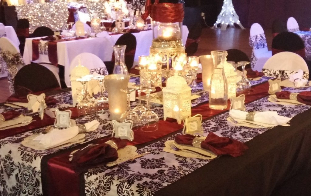 Merlot Guest Table with Black Tablecloth