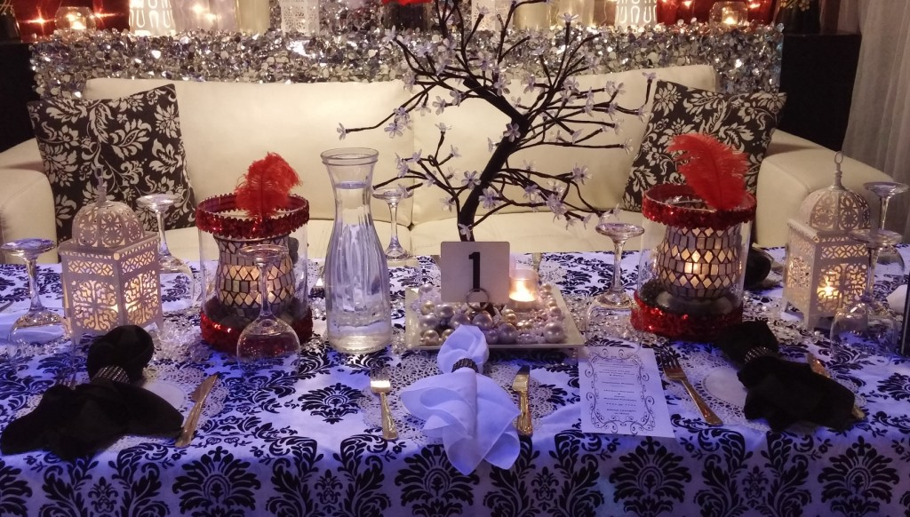 Quinceanera Court Table for Masquerade Theme - Closeup