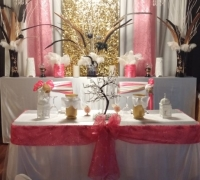 Coral, White and Gold Sweetheart Table