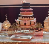 Paris Themed Pink & Gold Cake Table