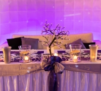 Sweetheart Table with Purple LED Wall